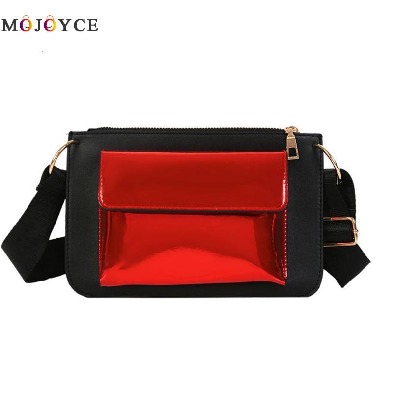 23 X 15 cm Laser Patent Leather Patchwork Women Handbag Girl Color Patchwork Zipper Messenger Bag Wide Strap Shoulder Bag