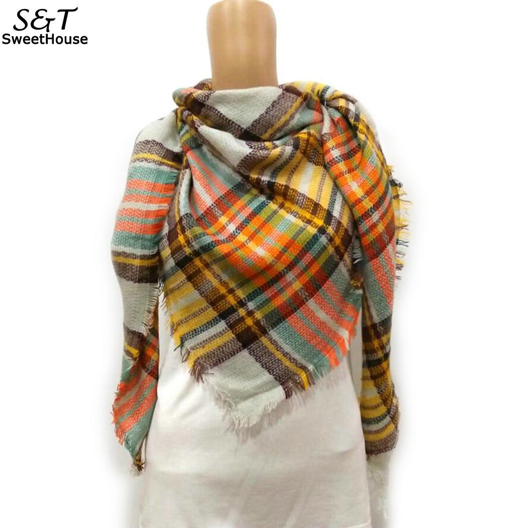 Women Fashion Soft Triangle Tassel Print Fringed Oversized Wraps Scarf