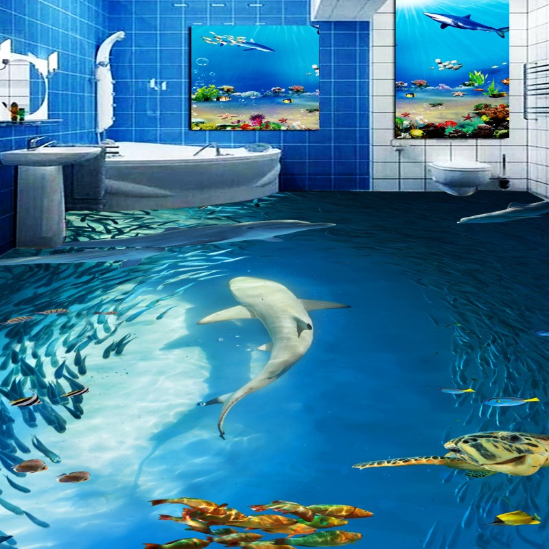 Free Shipping Underwater world dolphin fish bathroom 3D floor non-slip living room coffee house bedroom study flooring mural free shipping floating suspension mountain dolphin 3d outdoor floor painting wear non slip bedroom bathroom flooring mural