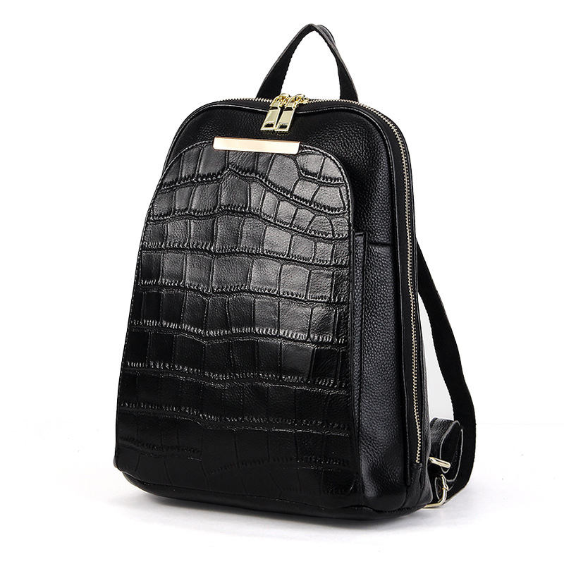 2019 European Style Women Knapsack Crocodile Pattern Cowhide Ladies Shoulder Bag High Quality Daily Female Backpack