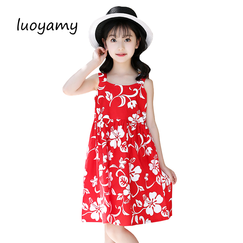 luoyamy Girls 2018 Summer Red Casual Dresses Children Cotton Floral Dress  For Girl Beach Clothes Princess 7a560dea289b