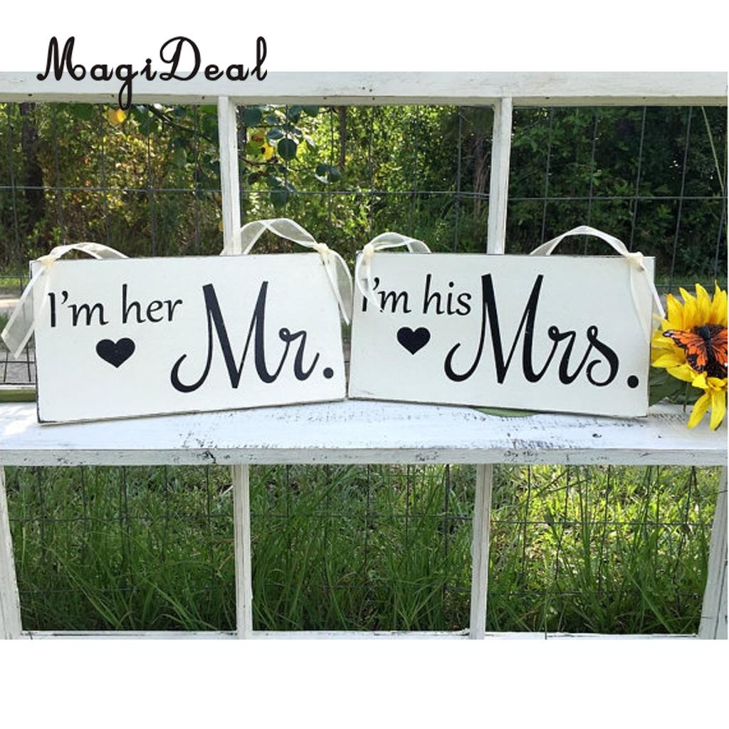 MagiDeal Sweet Wedding Wooden Standing Cards Standing Sign Mr and Mrs Word Vintage Party Wedding Table Chair Hanging Props