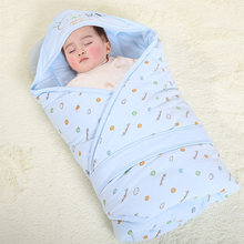 Baby Blanket Soft Cotton Swaddle Thick Warm Envelopes For Newborns Quilt Hooded Sleeping Bag Infant 90x90cm