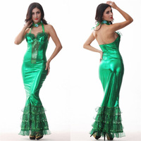 Green color Sexy Female Tight dress Women Halloween Mermaid Tail Costume Princess Cosplay Banquet evening Dance dress