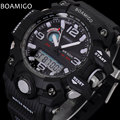 men sport watches BOAMIGO brand LED digital watches military analog quartz watch rubber strap 50M waterproof reloj hombre F5100