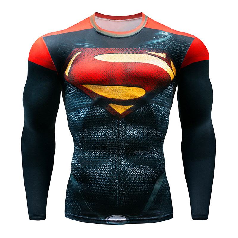 2018 Autumn Winter Superhero Superman/Batman/Spiderman Men Long Sleeve   T     Shirt   Compression Tights Tops   T  -  shirt