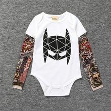 New Baby Boys Tattoo Print Long Sleeved Bodysuit Infant Toddler Cotton Jumpsuit One-piece Kids Climb Cloth Batman T-shirt Tops