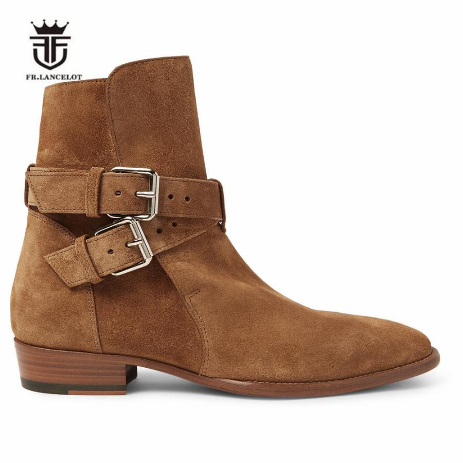 2018 New High Cost Handmade Camel suede Genuine Leather Dual Buckle Strap Wedge Men Ankle Boots Pointed Toe Luxury Boots 2017 luxury handmade pointed toe ankle fringe tassel short boots high end designed men genuine leather suede boots