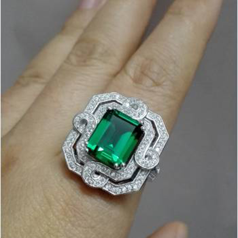 2017 Qi Xuan_Fashion Jewelry_Luxury Rectangular CZ Green Stones Rings_S925 Solid Sliver CZ Green Rings_Factory Directly Sales cz h37s