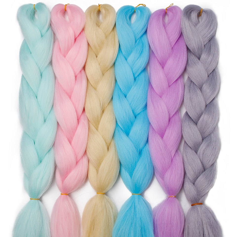 Aisi Hair 24 Inch 100g/pack Ombre Kanekalon Crochet Jumbo Braid Hair Extensions Pink Braids Hairs Available 88 Color Braiding Shrink-Proof Hair Extensions & Wigs Jumbo Braids