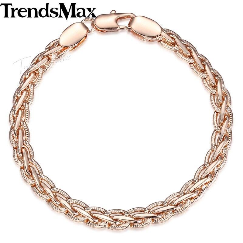 Trendsmax Men Women Bracelets 585 Rose Gold Filled Jewelry Weaving Wheat Link Bracelet 6mm KGBM98