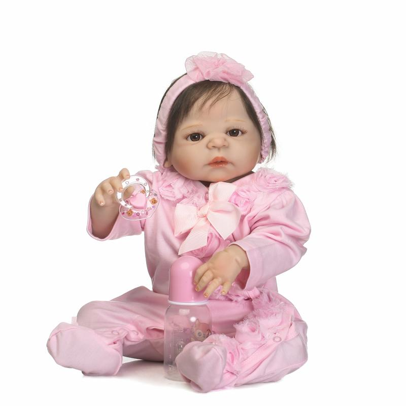 23 Inch Full Silicone Baby Girl Doll 56CM Newborn Dolls Girls With Hairband Vinyl Newborn Babies Brinquedo economic newborn baby model flexible full term baby doll