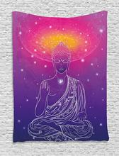 Psychedelic Tapestry with Yoga Figure in Lotus Position