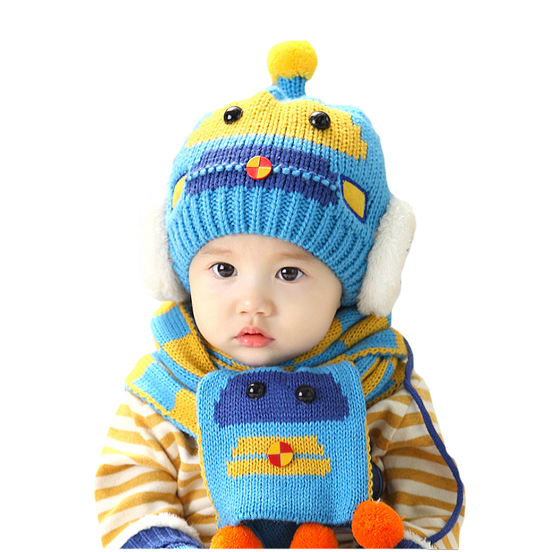 2016 Winter cartoon ear muff hat crochet baby hat for Girls Boys baby hat scarf set Headband photography prop Knitted baby cap