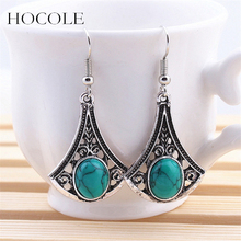 Free shipping Tibetan silver Natural Turquoise Stone Women Statement  Leaves Pendant earrings Hollow out Earrings A197G