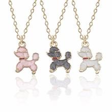 Fashion Creative Dog Necklace Glamour Female Animal Cute Puppy Pendant Kawaii White Pink Black Poodle Gift