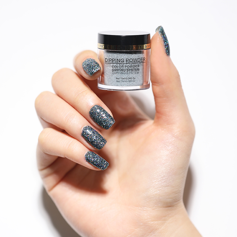 Born pretty, голографическая погружение порошки для ногтей градиент окунания блеск украшения длительным, чем УФ гель натуральный сухой без лампы лечения