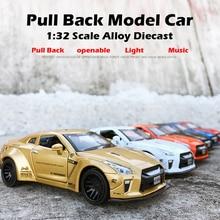 купить Beargor 1:32 Alloy MINI AUTO GTR Race Car Toy Diecast Pull Back Model Car with Music Light Desk Decoration Toys Birthday Gift дешево