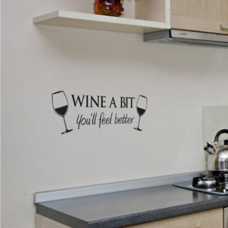 Wine A Bit Vinyl Wall Art Quote Wall Sticker Room Kitchen Removable Decor Mural Decals QB838493
