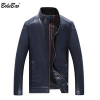 BOLUBAO Men Leather Jacket Fashion Motorcycle PU Leather Male Bomber Jackets Outerwear Long Sleeves Leather Coat