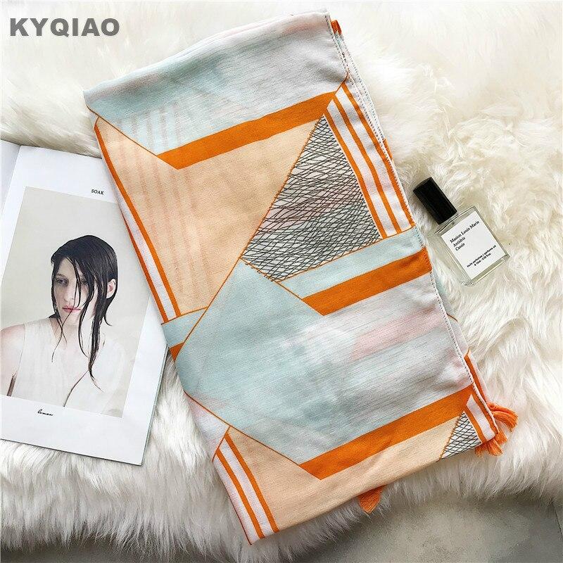 KYQIAO Women scarf hijab ladies office scarf 2018 female autumn spring South Korea fresh long geometric print scarves muffler