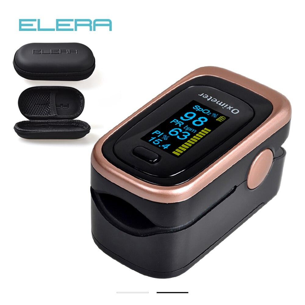 Oxímetro do pulso do dedo de elera com caso 4 parâmetro spo2 pr pi odi4 oximétrico de dedo 8 horas de monitoramento do sono pulsioximetro