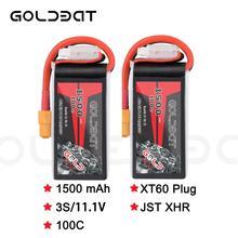 2 unità di GOLDBAT 1500mAh 11.1v Lipo Batteria per fpv batteria Lipo 11.1V 3S 100C Batteria lipo per Drone con XT60 Spina per fpv heli