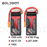 2units GOLDBAT 1500mAh 11.1v Lipo Battery for fpv battery Lipo 11.1V 3S 100C Battery lipo for Drone with XT60 Plug for fpv heli