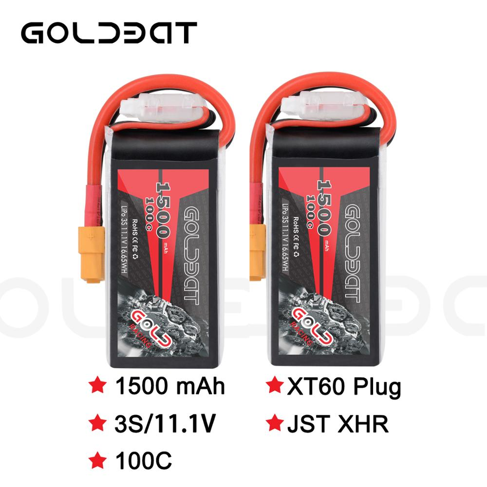 2units GOLDBAT <font><b>1500mAh</b></font> 11.1v <font><b>Lipo</b></font> Battery for fpv battery <font><b>Lipo</b></font> 11.1V <font><b>3S</b></font> 100C Battery <font><b>lipo</b></font> for Drone with XT60 Plug for fpv heli image