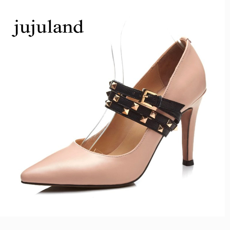 Spring/Autumn Women Pumps Mary Janes Shoes Genuine Leather Rivet High Thin Heels Pointed Toe Casual Fashion Sexy Slip-On Shallow wdzkn spring summer breathable genuine leather women shoes slip on high heels round toe height increasing women casual shoes
