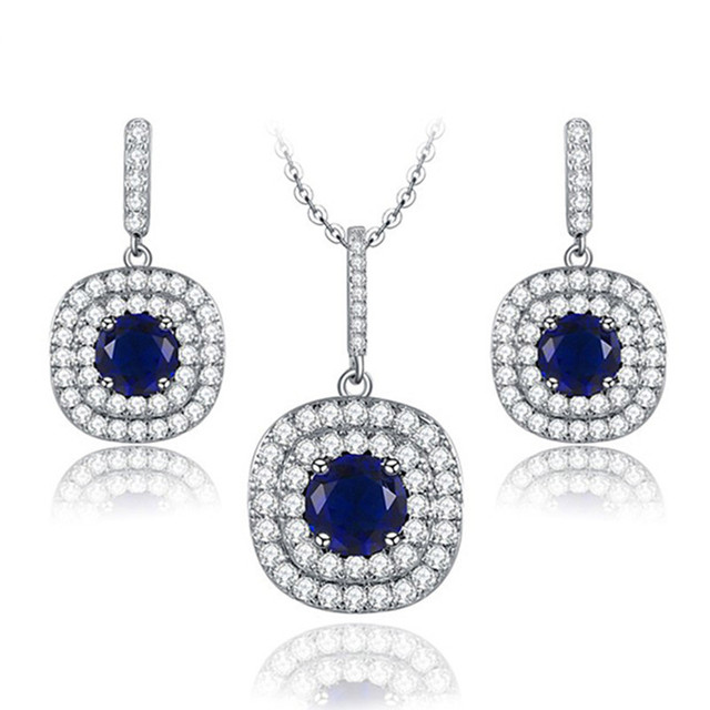 Simple Blue AAA+ Zircon Royal Wedding Jewelry Sets For Brides  White Gold Plated Earrings Necklace Jewelry Set 1070234756a