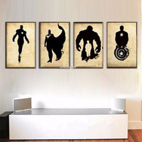 4 Panel Pictures Hand painted Oil Painting On Canvas Retro Movie Star Batman Hulk Captain America Marvel Comics Heroes Posters