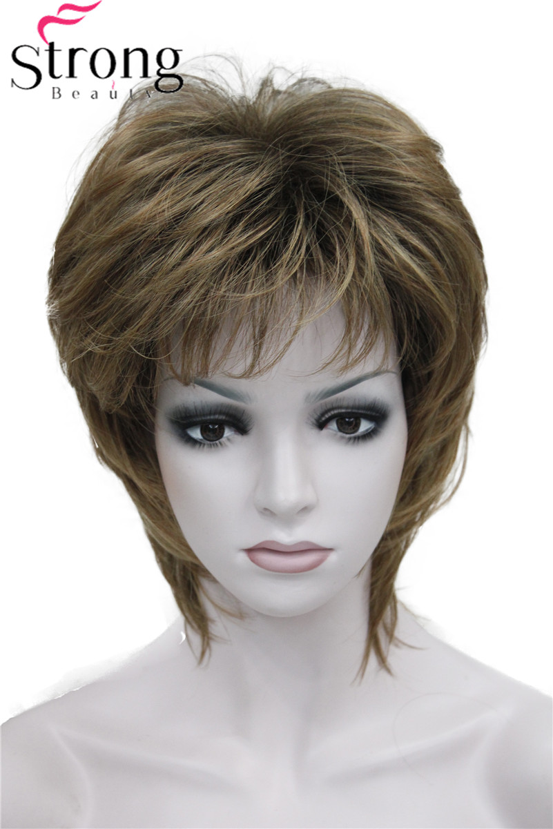 StrongBeauty Short Straight Brown mix Synthetic Wig Fluffy Women's Hair wigs