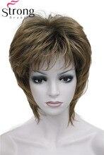 StrongBeauty peluca sintética para mujer, pelo corto, liso, marrón, mezcla, esponjoso