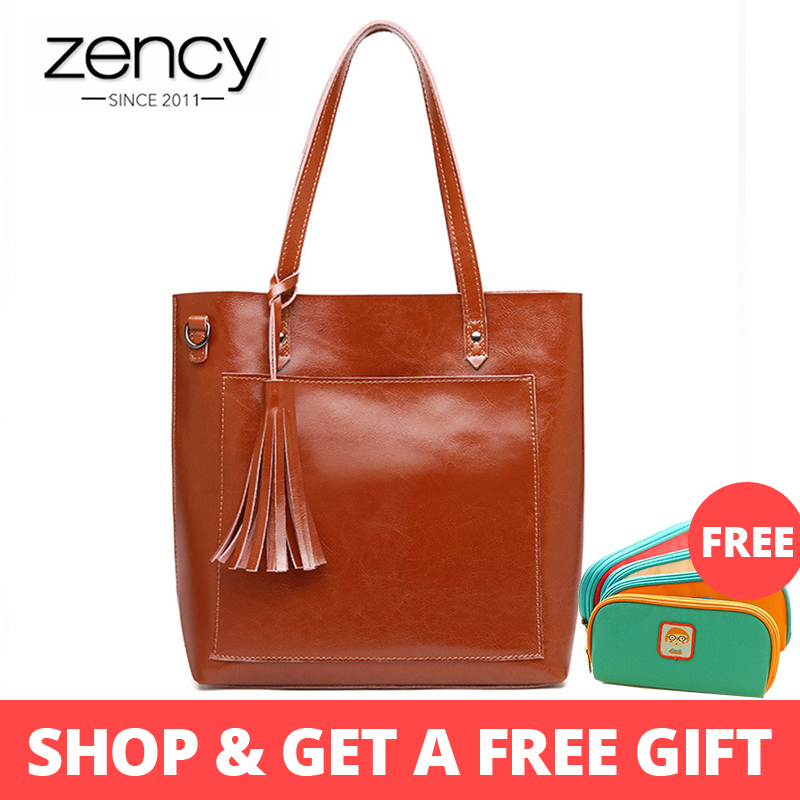 Zency Fashion Women Shoulder Bag 100% Real Cow Leather Handbag With Tassel Large Capacity Shopping Bags Crossbody Purse BrownZency Fashion Women Shoulder Bag 100% Real Cow Leather Handbag With Tassel Large Capacity Shopping Bags Crossbody Purse Brown