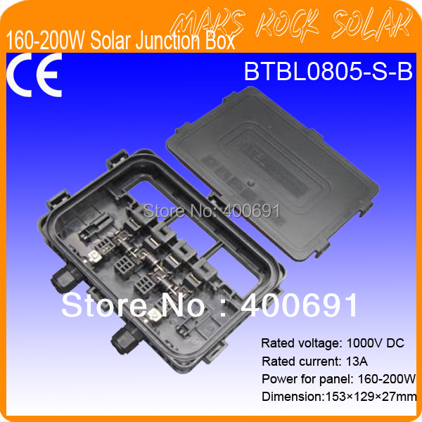 160-220W Solar Panel System Junction Box with 3 Diodes (10SQ050), Connector, 90CM Cable, Plastc Plugs 140w 200w solar junction box waterproof ip65 for solar panel connect pv junction box solar cable connection with diode