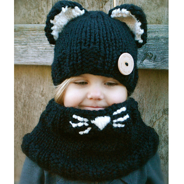 67ccce6d419 Bufanda con capucha de punto para bebé niña niño gato negro sombrero  bufanda conjunto tejido Pashmina