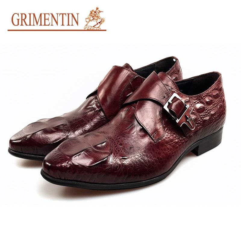 GRIMENTIN fashion Italian mens dress shoes with buckle black brown designer  male shoes men wedding business