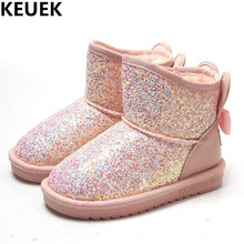 Girls Snow Boots 2017 New Children Boots Princess Warm Plush Sequined Cloth Kids Leather Boots Baby Toddler Cotton Shoes 044
