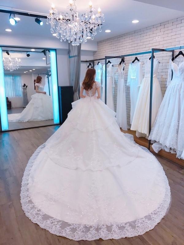 Vinca sunny Vestido De Noiva 2019 Sheer Back Princess Wedding Dress with Train shining Lace Bridal Gowns vestidos novias boda