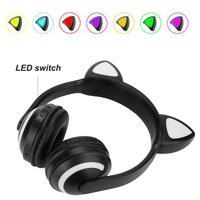 Binmer High Quality Cute Foldable Bluetooth Cat Ear Headset Color Changeabe LED Light Headphone Earphone Valentines