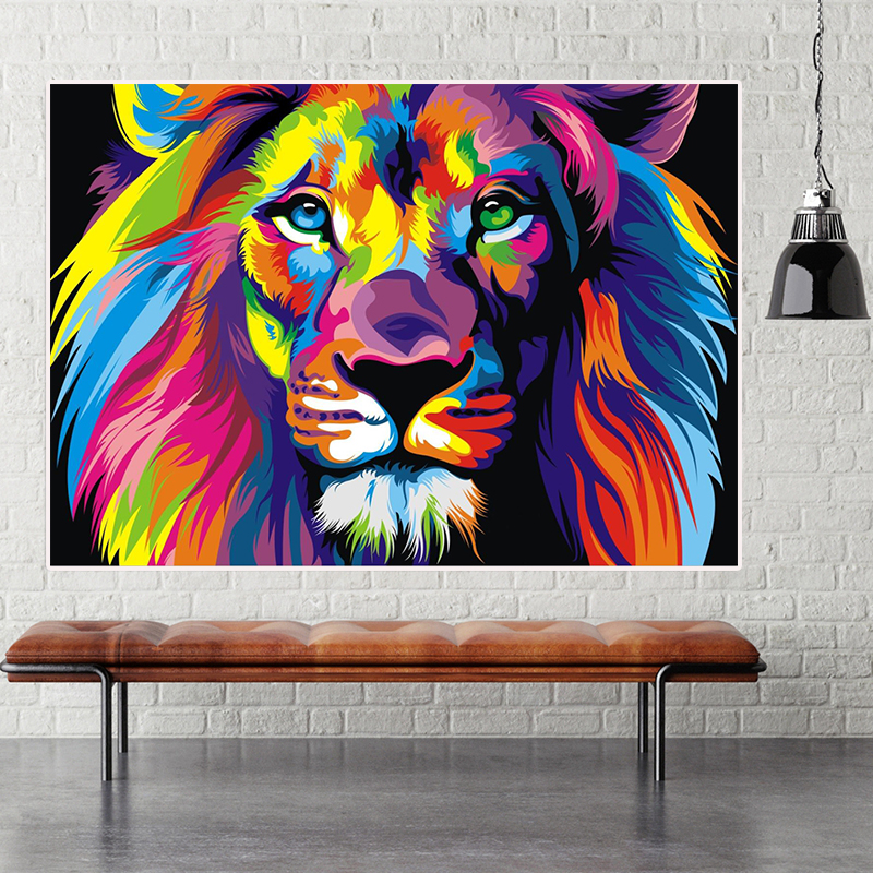 Decoration Home art Color Golden lion oil painting picture Printed on Canvas