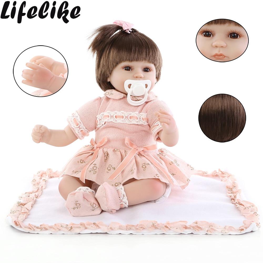 Adorável 22 polegada 55 cm Bebês Renascer Baby Dolls Realistic Silicone Macio Boneca Da Vida Real Com Brinquedo do Urso do bebê Assim verdadeiramente Kid Playmates K5