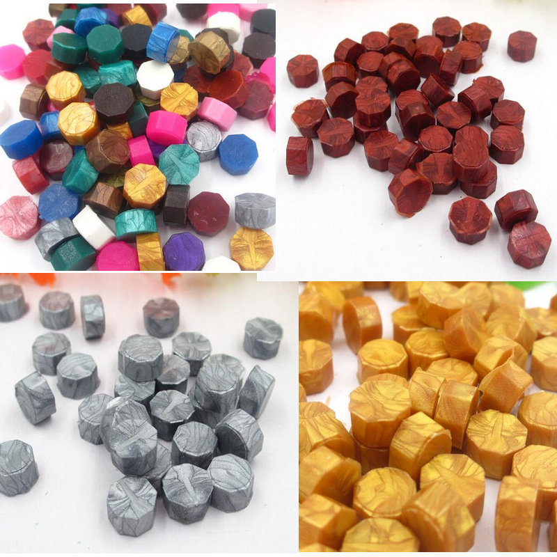 D) 100pcs/lot vintage sealing wax tablet pill beads granule/grain/strip sticks for envelope wedding Wax seal ancient sealing wax new one bottle star shaped color optional vintage sealing wax granule for envelope wedding