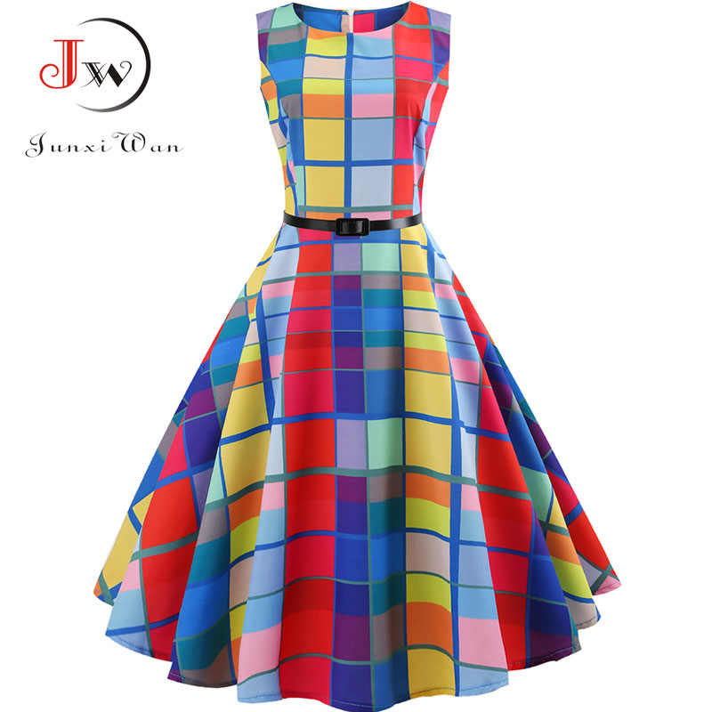 Plaid Print Vintage Dress Women Summer 꽃 Swing 자 드레스 햅번 50 초 60 초 Plus Size Retro 우아한 로브 feminino Vestidos