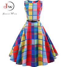 Plaid Print Vintage Dress Women Summer Floral Swing Party Dresses Hepburn 50s 60s Plus Size Retro Elegant Robe feminino Vestidos