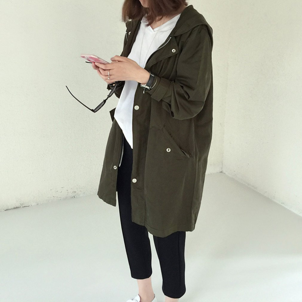 Women Windbreaker Fashion Women Spring Autumn Loose Type Jacket Outwear Letter Printed Long Style Female Jacket Coat With Zipper