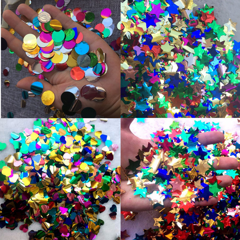 Shiny Star Heart Confetti Wedding Decoration Transparent Party Balloons Round Confetti Table Decor Birthday Party Accessories