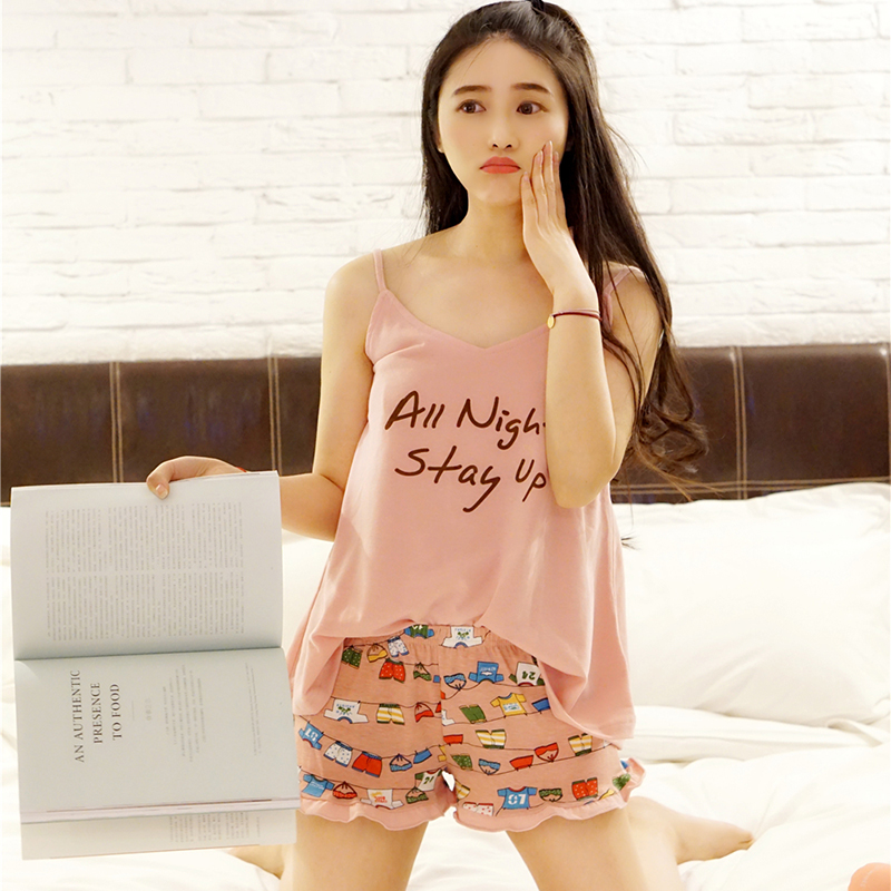 2017 Summer Spaghetti Strap Cotton Pajamas Set Letter ...
