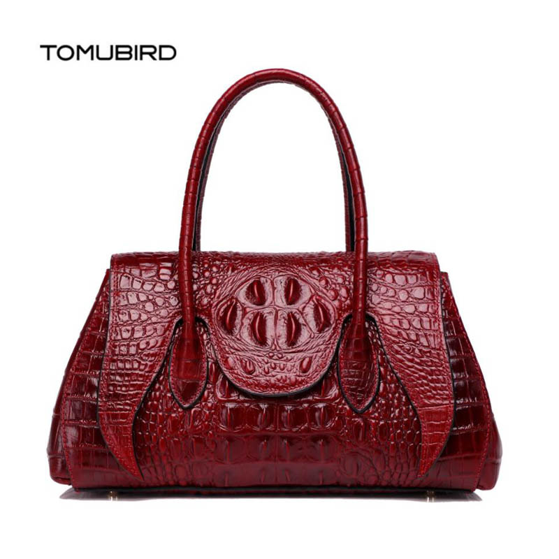 TOMUBIRD 2018 new superior Cowhide fashion Crocodile pattern embossing genuine leather women bag designer luxury handbags tomubird new superior cowhide leather embossing flower brand women tote fashion luxury women genuine leather handbags